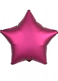 Inflated Pomegranate Pink Satin Luxe Star Helium Balloon