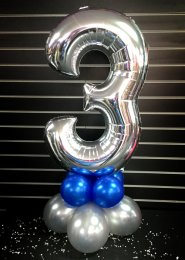 Metallic Silver Number 3 Balloon Centrepiece