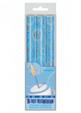 Blue Party Glize Ice Fountain Candles Pk3