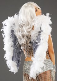 Deluxe Grey and White Diamante Angel Feather Wings
