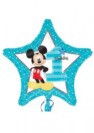 Inflated Blue Mickey Mouse 1st Birthday Star Balloon