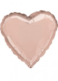 Inflated Rose Gold Heart Helium Balloon