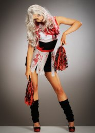 Womens Halloween Dead Zombie Cheerleader Costume
