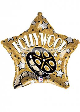 Gold Star Hollywood Party Helium Balloon