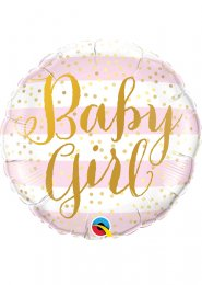 Inflated Pink Striped Baby Girl Helium Balloon