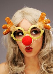 Funny Christmas Rudolph Reindeer Glasses with Red Nose