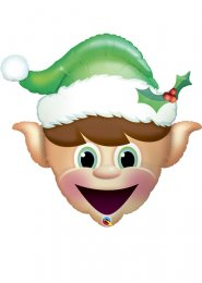 Inflated Green Christmas Elf Helium Balloon