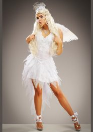 Womens Deluxe White Angel Costume with Wings