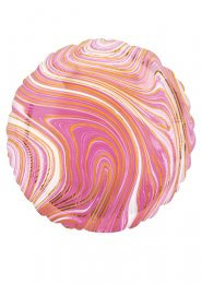 Inflated Pink and White Marble Foil Helium Balloon