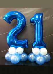 Metallic Blue Number 21st Birthday Balloon Set
