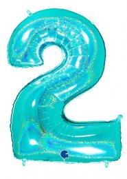 Sparkle Tiffany Blue Number 2 Inflated Helium Balloon on Weight