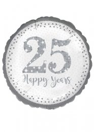 Inflated Sparkling Silver 25th Anniversary Helium Balloon