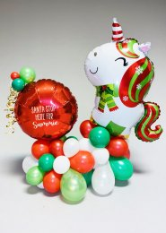 Personalised Christmas Unicorn Organic Balloon Display