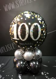 Black And Silver 100th Birthday Balloon Centrepiece
