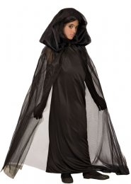 Childrens Halloween Gothic Sheer Black Ghost Cape