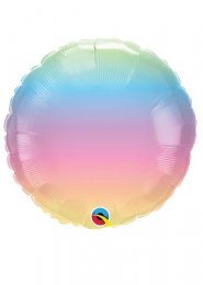 Inflated Pastel Rainbow Ombre Helium Party Balloon