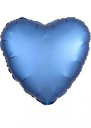Inflated Azure Blue Satin Luxe Heart Helium Balloon