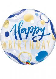 Inflated Blue and Gold Happy Birthday Bubble Helium Balloon