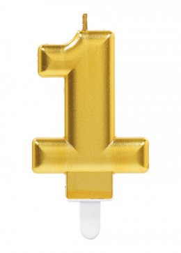 Gold Number 1 Birthday Cake Candle