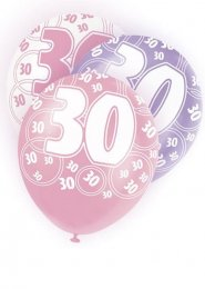 Pink Glitz 30th Birthday Party Balloons Pack 6