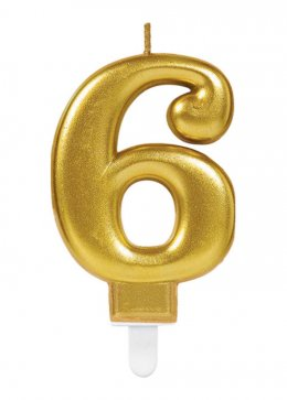 Gold Number 6 Birthday Cake Candle