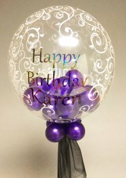 Personalised Purple Birthday Multi Balloon Filled Bubble Balloon