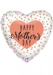 Inflated Rose Gold Happy Mothers Day Heart Helium Balloon