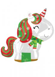 Inflated Cute Christmas Unicorn Shaped Helium Balloon