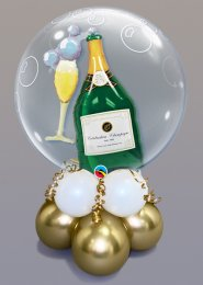 Inflated Champagne Bottle Bubble Gold Balloon Centrepiece