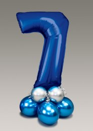 Chrome Blue and Silver Large Number 7 Balloon Centrepiece