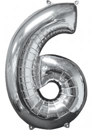 Inflated Mid-Size Silver Number 6 Helium Balloon on Weight