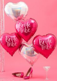 Inflated 5 Pink and Iridescent Bride Tribe Heart Balloons