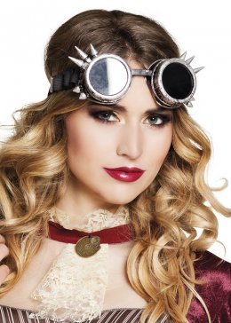 Adult Siver Steam Punk Spiked Goggles