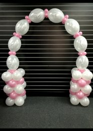 White And Pink Wedding Balloon Link Arch With Collars