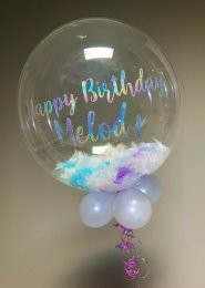 Personalised Iridescent Feather Filled Bubble Balloon