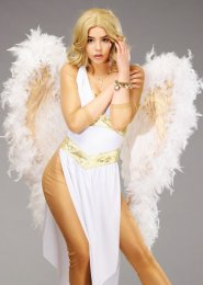 Deluxe Sparkle White and Gold Feather Angel Wings