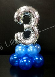 Mini Silver Number 3 Balloon Centrepiece