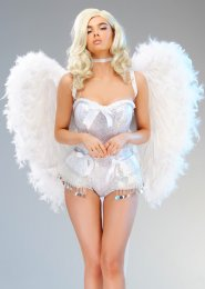 Deluxe White Bride Feather Angel Wings with Net Bow