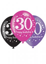 Pink and Black 30th Birthday Party Balloons Pk6
