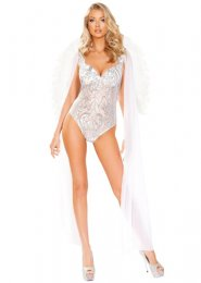 Womens Deluxe Sheer Sequin White Angel Costume