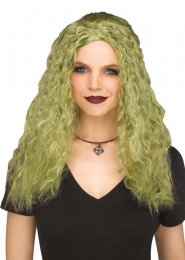 Womens Halloween Long Green Crimped Sorceress Wig