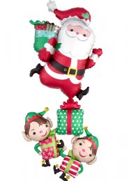 Inflated Large Christmas Santa and Elves Helium Muti Balloon