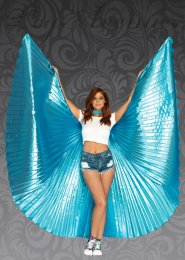 Womens Festival Large Carnival Blue Showgirl Wings
