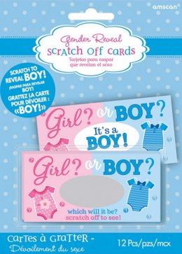 Baby Shower Boy Gender Reveal Scratch Cards