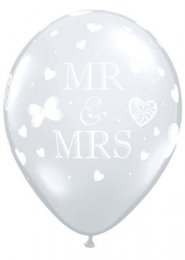 Inflated Clear Mr and Mrs Wedding Helium Latex Balloon