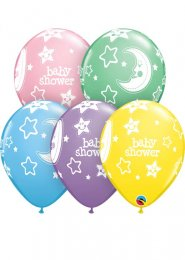 Inflated Moon and Stars Baby Shower Helium Party Balloon