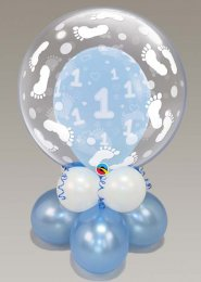 Inflated Blue 1st Birthday Double Bubble Balloon Centrepiece