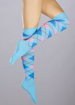 Womens Blue Schoolgirl Knee Socks