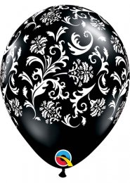 Inflated Black Damask Pattern Helium Party Balloon