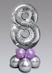 Inflated Mid-Size Silver and Lilac Number 8 Balloon Centrepiece